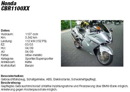 Anzeige in HONDA CBR 1100 XX Super Blackbird